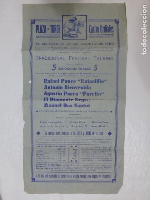 CASTRO URDIALES CANTABRIA PLAZA DE TOROS CARTEL CORRIDA 23 DE AGOSTO 1950 RAFAELILLO BIENVENIDA PARR (Coleccionismo - Carteles Gran Formato - Carteles Toros)