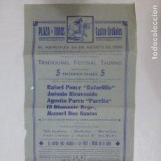 Carteles Toros: CASTRO URDIALES CANTABRIA PLAZA DE TOROS CARTEL CORRIDA 23 DE AGOSTO 1950 RAFAELILLO BIENVENIDA PARR. Lote 212377086