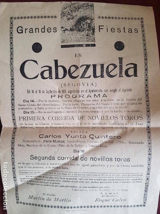 CABEZUELA SEGOVIA CARTEL CORRIDA DE NOVILLOS 1934 21 X 31 CMTS (Coleccionismo - Carteles Gran Formato - Carteles Toros)