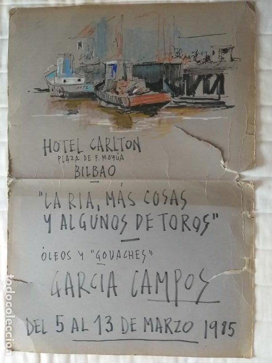 CARTEL DE EXPOSICION: LA RIA, MAS COSAS Y ALGUNAS DE TOROS. OLEOS GARCIA CAMPOS. TAMAÑO 76 X 53 CMS (Coleccionismo - Carteles Gran Formato - Carteles Toros)