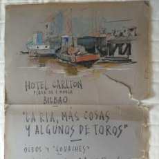 Carteles Toros: CARTEL DE EXPOSICION: LA RIA, MAS COSAS Y ALGUNAS DE TOROS. OLEOS GARCIA CAMPOS. TAMAÑO 76 X 53 CMS. Lote 213079075