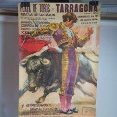 Carteles Toros: CARTEL PLAZA TOROS TARRAGONA 1974--PAQUIRRI-- MARQUEZ-- ROBLES TAUROMAQUIA----90 X 50 CM. Lote 254617425