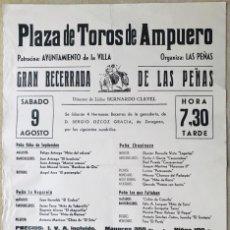 Carteles Toros: CARTEL PLAZA DE TOROS DE AMPUERO - CANTABRIA - GRAN BECERRADA DE LAS PEÑAS - AÑOS 80. Lote 214370531