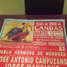 Carteles Toros: AUTENTICO CARTEL TOROS CORRIDA MARINERA DE CANDAS 13 SEPTIEMBRE DE1994 ,MIDE 69X49 CENT,ESTA PERFECT. Lote 269254163
