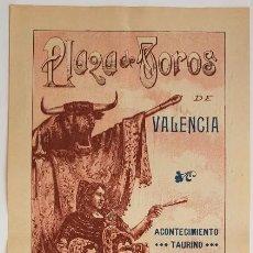 Carteles Toros: EXTRAORDINARIO CARTEL: LIMEÑO Y GALLITO EN VALENCIA. 1912. 48X20 CM. Lote 232947776
