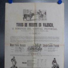 Carteles Toros: VALENCIA - CARTEL DE TOROS DE MUERTE, AÑO 1872 - FUENTES BOCANEGRA, FRASCUELO. Lote 217016381