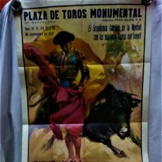 Carteles Toros: GRAN CARTEL PLAZA DE TOROS MONUMENTAL.5 GRANDIOSAS CORRIDAS DE LA MERCED.SETIEMBRE DE 1969. Lote 217186825
