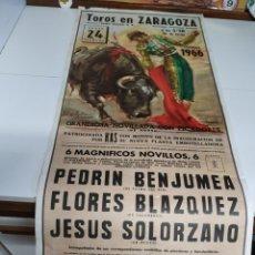 Carteles Toros: CARTEL DE TOROS EN ZARAGOZA 1966. Lote 217559431