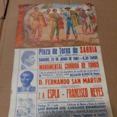 Carteles Toros: 1991 SARRIA LUGO TIROS ESOLA/ FRANCISCO REYES D.FERRNANDO SAN MARTIN CORRIDA TORROS. Lote 218194673