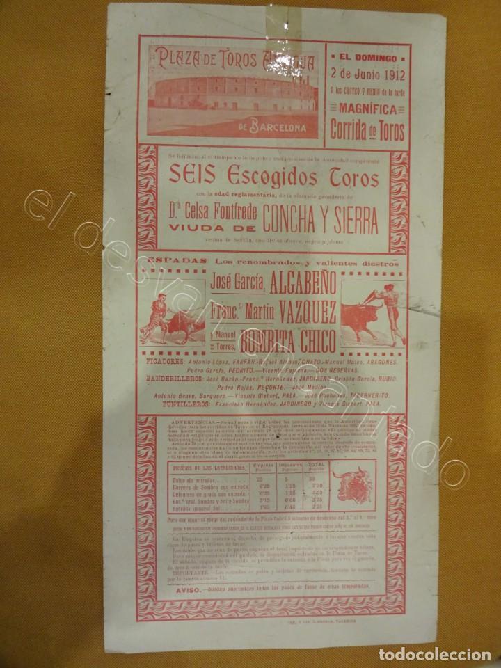 Carteles Toros: Plaza de Toros Antigua de BARCELONA. Cartel año 1925. 35 x 19 ctms - Foto 2 - 218491375