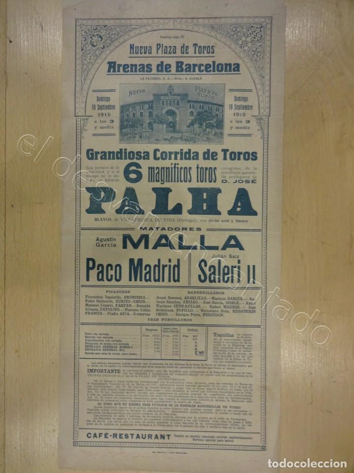 Carteles Toros: Nueva Plaza de Toros Arenas de BARCELONA. Cartel año 1915. 39 x 18 ctms - Foto 2 - 218491908