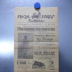 Affiches Tauromachie: CARTEL PLAZA DE TOROS - CULLERA, VALENCIA - VICENTITA MORENO, DON SERVANDO, MEL DE GANDIA - AÑO 1935. Lote 218616962