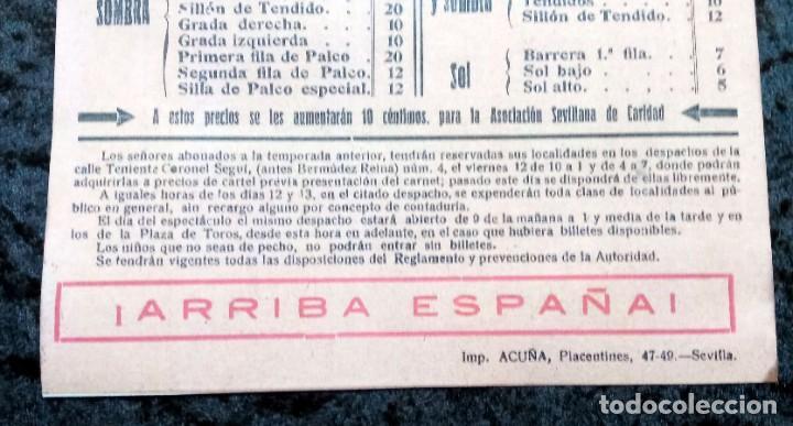 Carteles Toros: CARTEL PLAZA DE TOROS SEVILLA - 1937 - FALANGE ESPAÑOLA - BELMONTE - SÁNCHEZ MEJÍAS - REPRODUCCION - - Foto 3 - 218856865