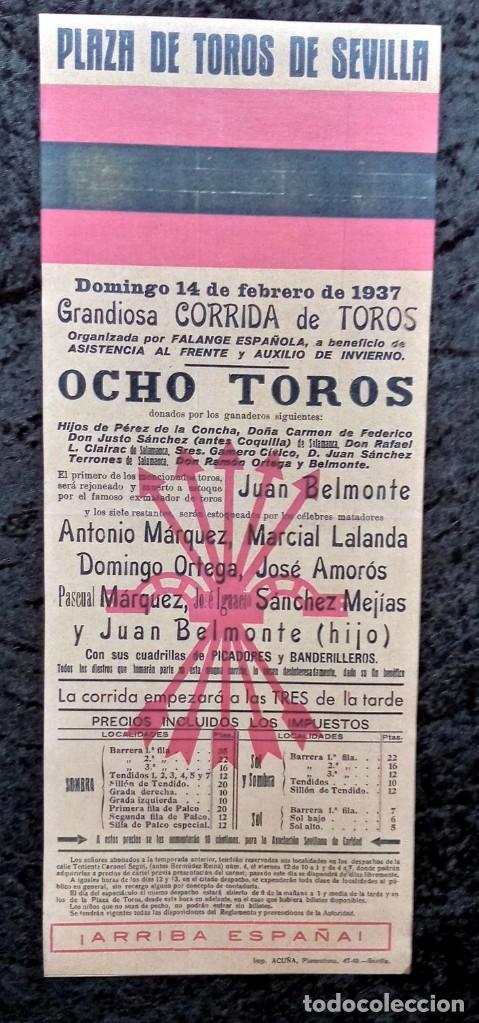 CARTEL PLAZA DE TOROS SEVILLA - 1937 - FALANGE ESPAÑOLA - BELMONTE - SÁNCHEZ MEJÍAS - REPRODUCCION - (Coleccionismo - Carteles Gran Formato - Carteles Toros)
