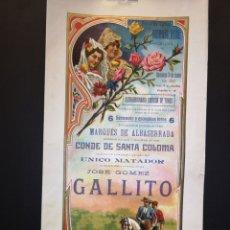 Affiches Tauromachie: CARTEL DE TOROS - JOSÉ GÓMEZ GALLITO - PLAZA DE TOROS MONUMENTAL - BARCELONA - 1917- 21 X 41.50 CM. Lote 219054695