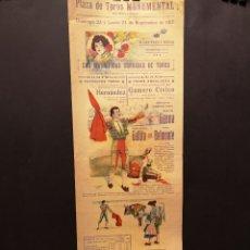 Affiches Tauromachie: CARTEL DE TOROS - GAONA - GALLITO - BELMONTE - 1917 - 50.50 X 17.50 CM - PLAZA DE TOROS MONUMENTAL. Lote 219151727