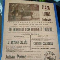 Affissi Tauromachia: CARTEL PLAZA DE TOROS DE INIESTA(CUENCA)1 SEPTIEMBRE 1958,ANTONIO CAZAÑA,CÁNDIDO CUARTERO,31X22. Lote 219287896