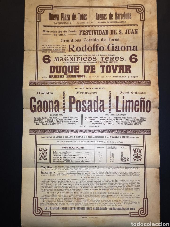 Carteles Toros: CARTEL DE TOROS - GAONA - POSADA - LIMEÑO - 1914 - 20 X 35.50 CM - Foto 2 - 219386313