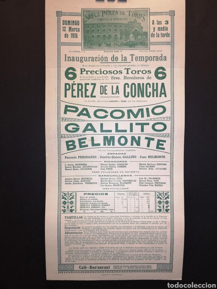 Carteles Toros: CARTEL DE TOROS - PACOMIO - GALLITO - BELMONTE - 1916 - 38.50 X 18. 50CM - Foto 2 - 219386868