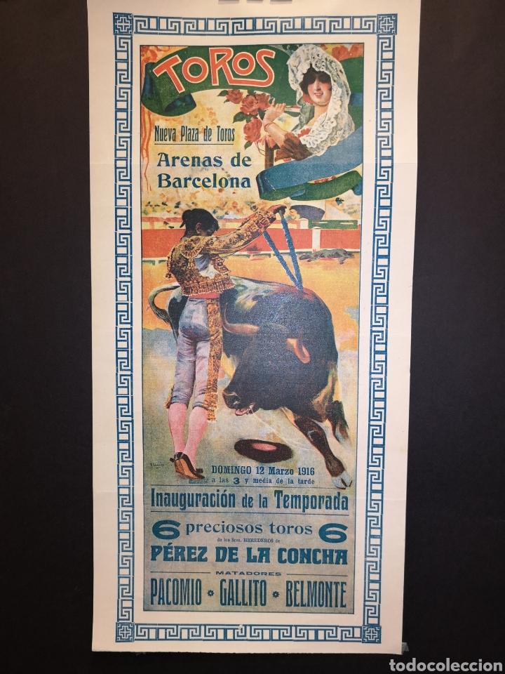 CARTEL DE TOROS - PACOMIO - GALLITO - BELMONTE - 1916 - 38.50 X 18. 50CM (Coleccionismo - Carteles Gran Formato - Carteles Toros)
