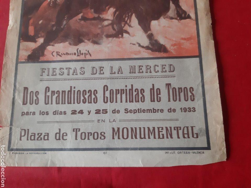Carteles Toros: Cartel toros Plaza Monumental Barcelona 1933 dos grandiosas corridas qué toros fiestas de La Merced - Foto 4 - 219421616