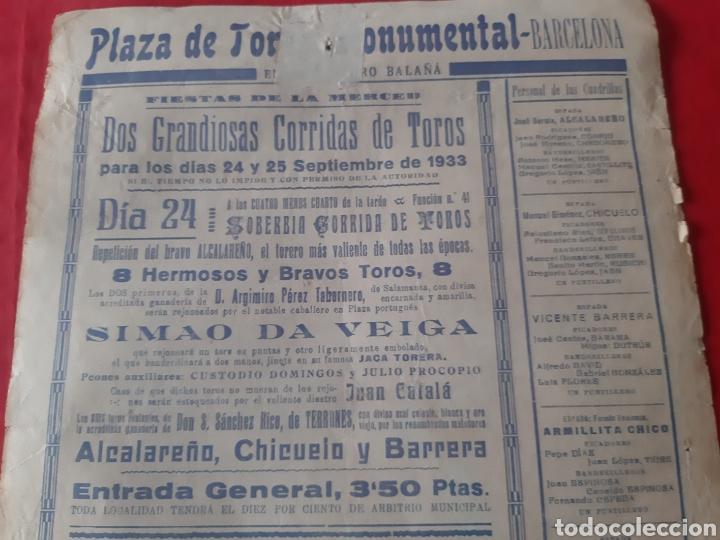 Carteles Toros: Cartel toros Plaza Monumental Barcelona 1933 dos grandiosas corridas qué toros fiestas de La Merced - Foto 5 - 219421616