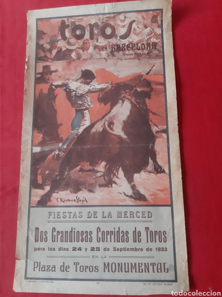 CARTEL TOROS PLAZA MONUMENTAL BARCELONA 1933 DOS GRANDIOSAS CORRIDAS QUÉ TOROS FIESTAS DE LA MERCED (Coleccionismo - Carteles Gran Formato - Carteles Toros)