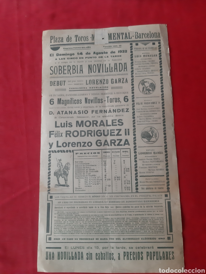Carteles Toros: Cartel de toros Plaza Monumental de Barcelona 1932 soberbia novillada - Foto 2 - 219423656