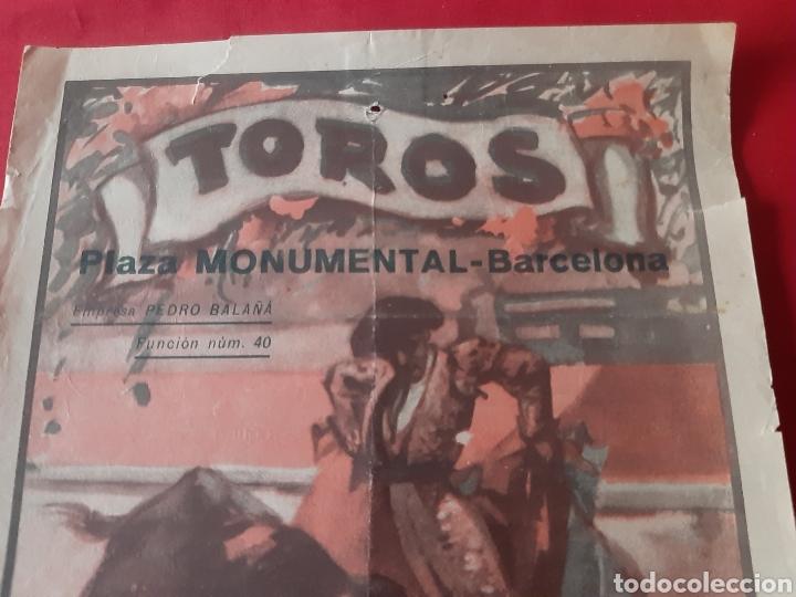 Carteles Toros: Cartel de toros Plaza Monumental de Barcelona 1932 soberbia novillada - Foto 3 - 219423656