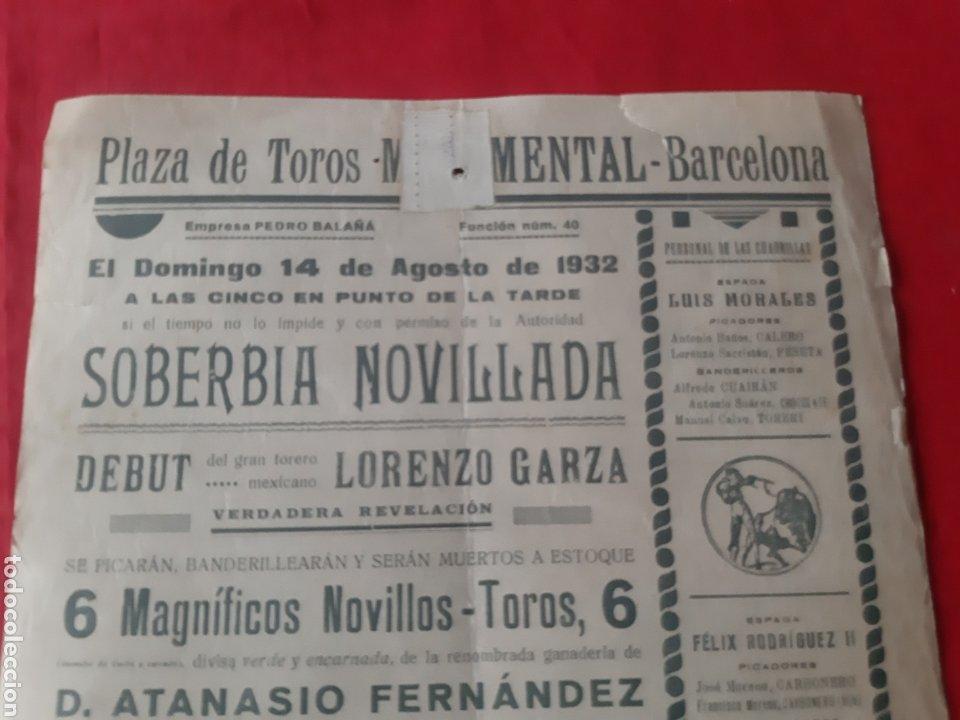 Carteles Toros: Cartel de toros Plaza Monumental de Barcelona 1932 soberbia novillada - Foto 5 - 219423656