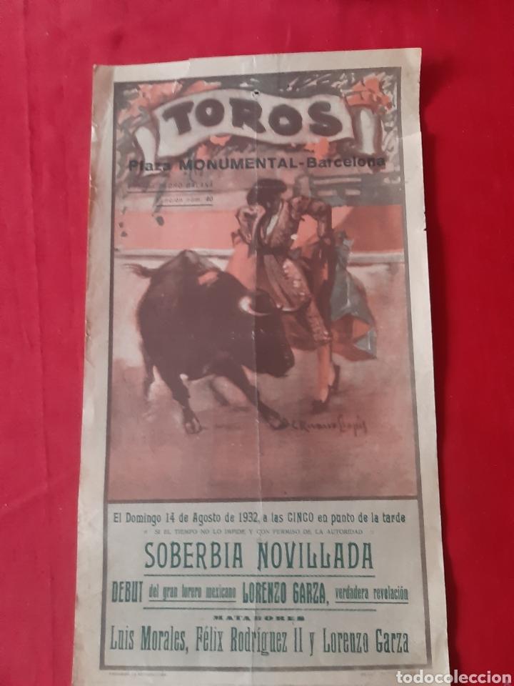 CARTEL DE TOROS PLAZA MONUMENTAL DE BARCELONA 1932 SOBERBIA NOVILLADA (Coleccionismo - Carteles Gran Formato - Carteles Toros)