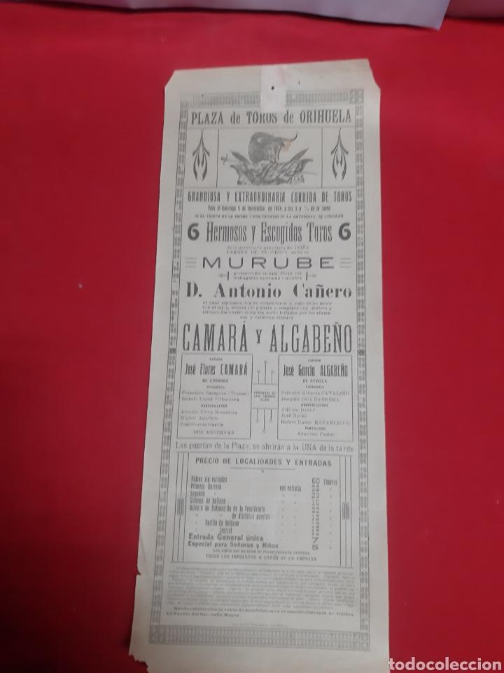 CARTEL PLAZA DE TOROS DE ORIHUELA AÑO 1924 GRANDIOSA Y EXTRAORDINARIA CORRIDA DE TOROS (Coleccionismo - Carteles Gran Formato - Carteles Toros)
