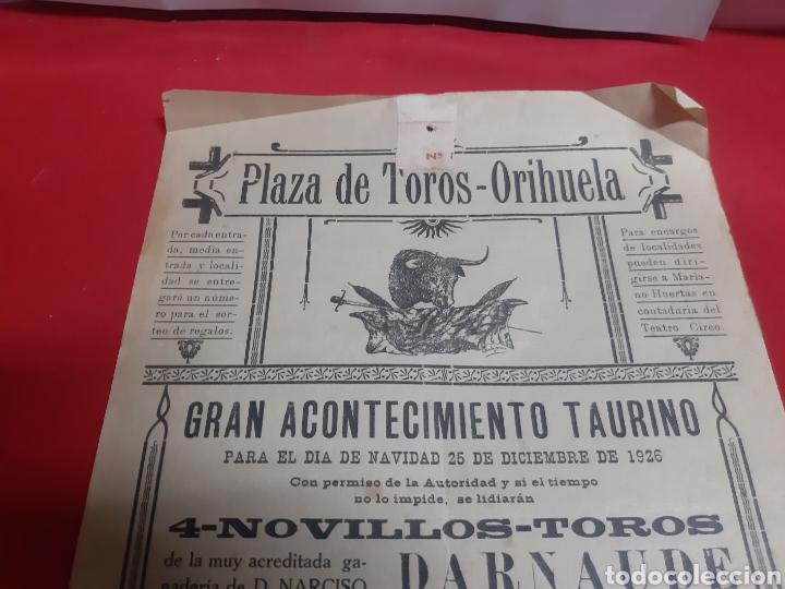 Carteles Toros: Cartel plaza de toros de Orihuela Alicante año 1926 gran acontecimiento taurino - Foto 2 - 219429785