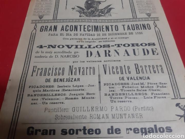 Carteles Toros: Cartel plaza de toros de Orihuela Alicante año 1926 gran acontecimiento taurino - Foto 3 - 219429785