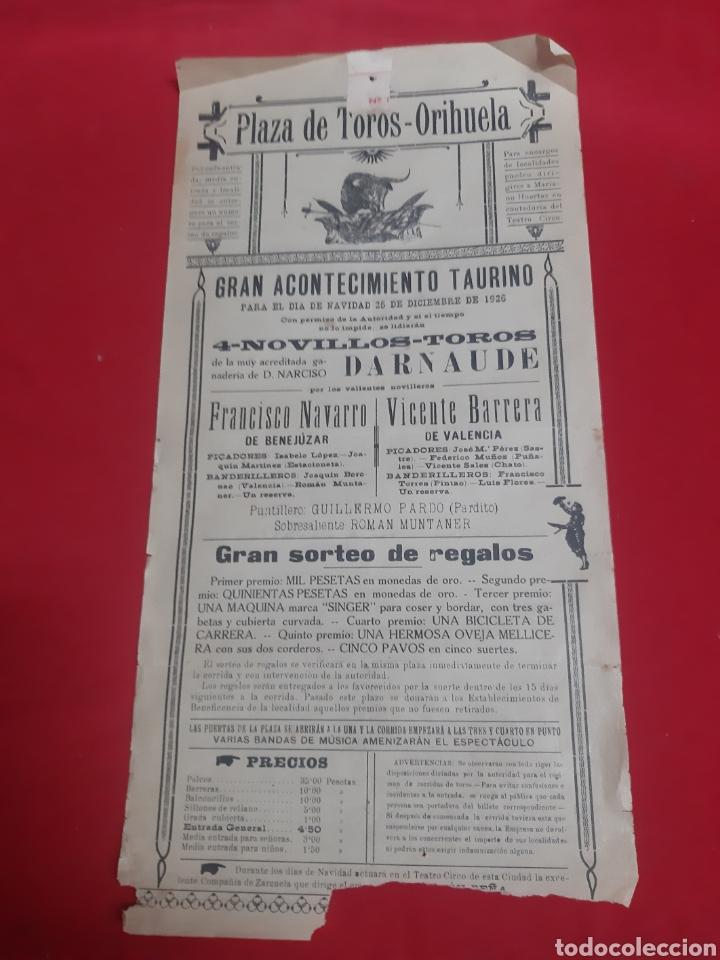 CARTEL PLAZA DE TOROS DE ORIHUELA ALICANTE AÑO 1926 GRAN ACONTECIMIENTO TAURINO (Coleccionismo - Carteles Gran Formato - Carteles Toros)