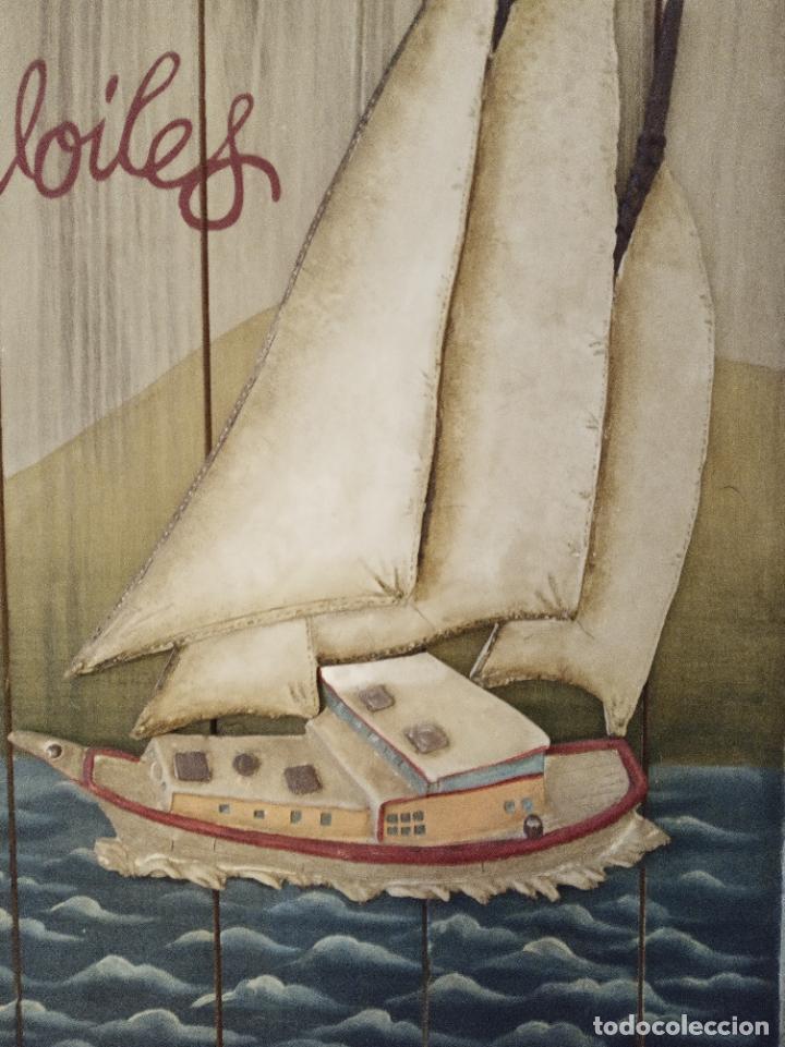 Carteles Toros: Cuadro vintage en madera y metal. Velero surcando los mares. Le vent dans les voiles. - Foto 3 - 219430166