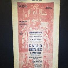 Carteles Toros: CARTEL DE TOROS - GALLO - BOMBITA CHICO- LIMEÑO - 1913 - 20 X 40 CM. Lote 219496660