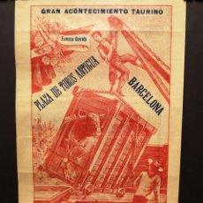 Carteles Toros: CARTEL DE TOROS - POSADA Y BELMONTE - 1913 - 20 X 34 CM. Lote 219588601