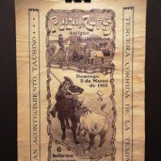 Carteles Toros: CARTEL DE TOROS - LARITA - POSADA - BELMONTE - 1913 - 20.50 X 34 CM. Lote 219589517