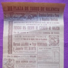 Affiches Tauromachie: CARTEL TOROS PLAZA DE TOROS VALENCIA 1939 LALANDA BIENVENIDA BELMONTE HOMENAJE EJERCITO CT546. Lote 220226645