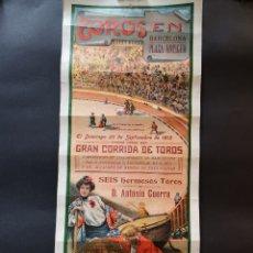 Carteles Toros: CARTEL DE TOROS - CONEJITO - MACHAQUITO - MANOLETE - 1912 - 21 X 49 CM. Lote 220345783