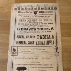 Affiches Tauromachie: CARTEL PLAZA DE TOROS ANTIGUA DE LA BARCELONETA 1902.ANGEL GARCÍA PADILLA.MANUEL DÍAZ AGUALIMPIA. Lote 221169858