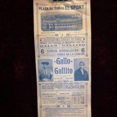 Affiches Tauromachie: CARTEL DE TOROS - GALLO - GALLITO - PLAZA DE TOROS EL SPORT BARCELONA - 1914 - 16 X 44 CM. Lote 221233257