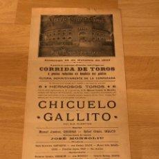 Affiches Tauromachie: CARTEL NUEVA PLAZA DE TOROS DE BARCELONA 1903.CHICUELO.GALLITO. Lote 221253278
