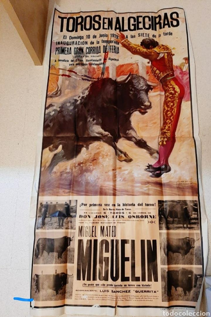 IMPRESIONANTE CARTEL DE TOROS ALGECIRAS MIGUELIN (Coleccionismo - Carteles Gran Formato - Carteles Toros)