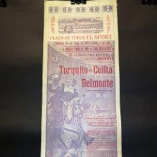 Carteles Toros: CARTEL DE TOROS - TORQUITO - CELITA - BELMONTE - PLAZA DE TOROS EL SPORT - 1914 - 19.50 X 50 CM. Lote 221359233