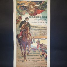 Carteles Toros: CARTEL DE TOROS - MACHAQUITO - VICENTE PASTOR - GALLO - GALLITO - 1913 - 18 X 44 CM - LOBARTA. Lote 221366453