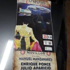 Affissi Tauromachia: POSTER UNICO.TOROS.ENRIQUE PONCE.CAYETANO RIVERA.JULIO APARICIO.VICENTE BARRERA.21 SEPT.2011.. Lote 221717001