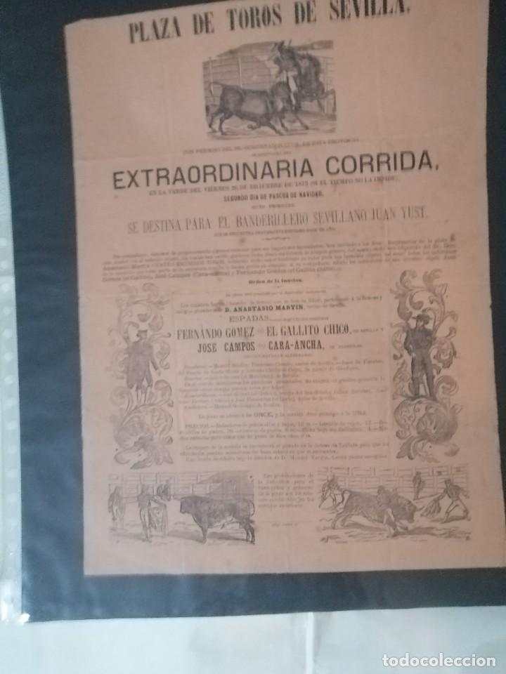 Carteles Toros: Cartel de toros antiguo extraordinaria corrida plaza de toros de sevilla - Foto 3 - 221719836