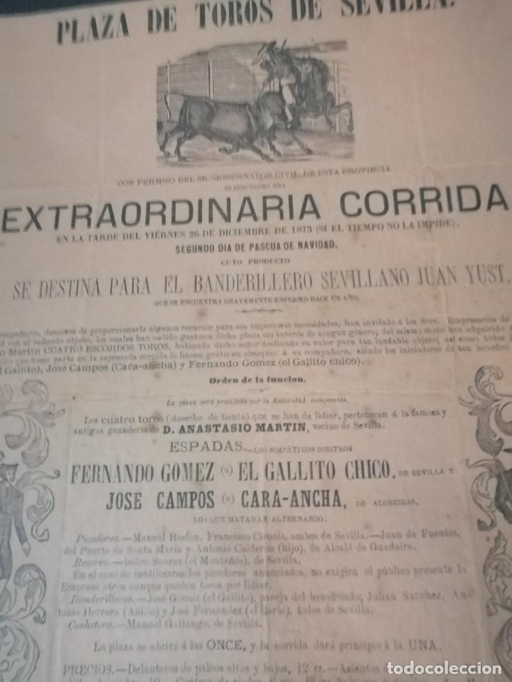 Carteles Toros: Cartel de toros antiguo extraordinaria corrida plaza de toros de sevilla - Foto 4 - 221719836
